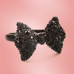 kawaii black sparkly bow ring