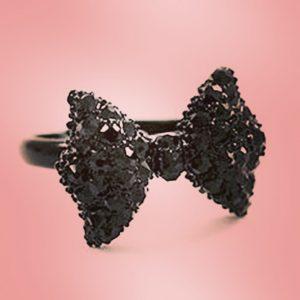 kawaii black sparkly bow ring