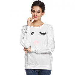cute eyelash lip long sleeve sweater
