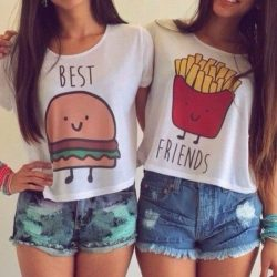 Best friends french fries burger t shirt