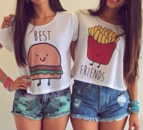 Best friends french fries burger t shirt