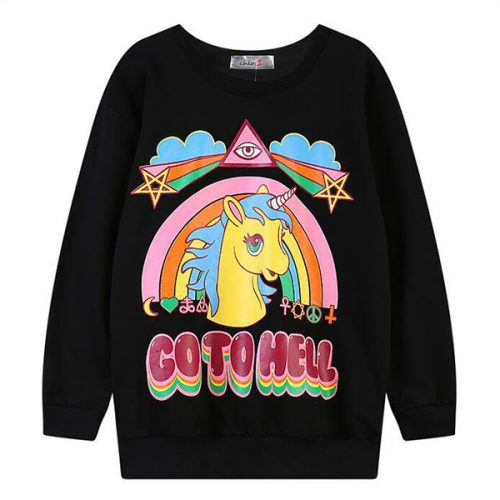 Unicorn Sweater Go To Hell Black