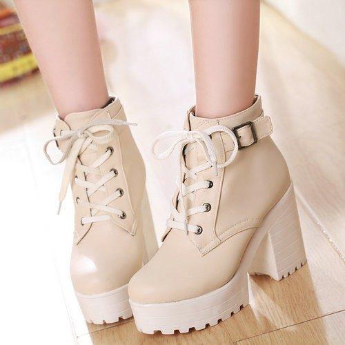Platform Boots Beige