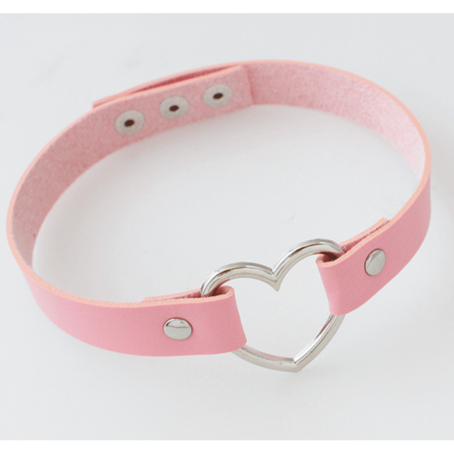 Pastel Goth Leather Choker Pink