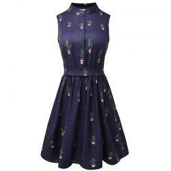 dark blue cactus dress