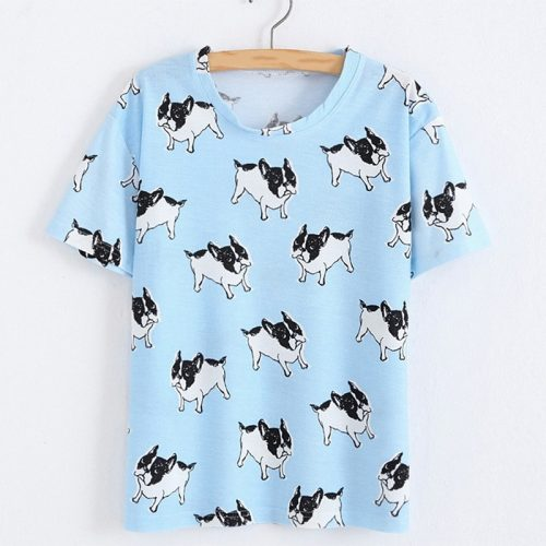 French Bulldog T-shirt Blue