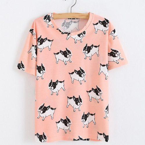 French Bulldog T-shirt Pink
