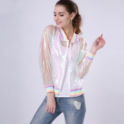 Holographic Transparent Jersey Jacket