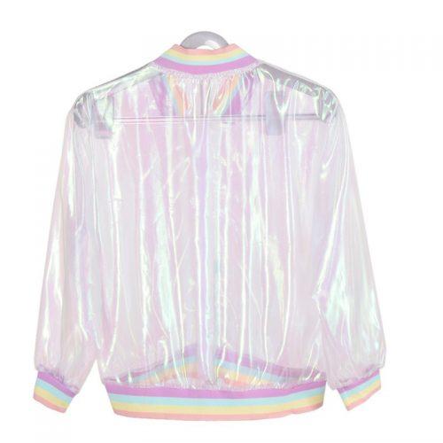 Holographic Transparent Jersey Jacket