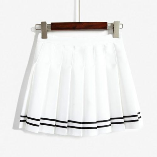 white Pleated Skirt