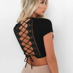 Cross Lace Up Top Black