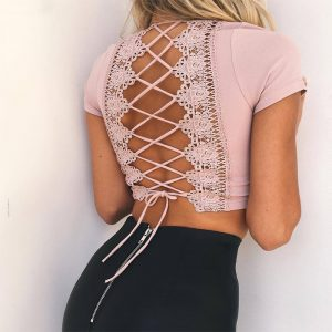 Cross Lace Up Top Pink