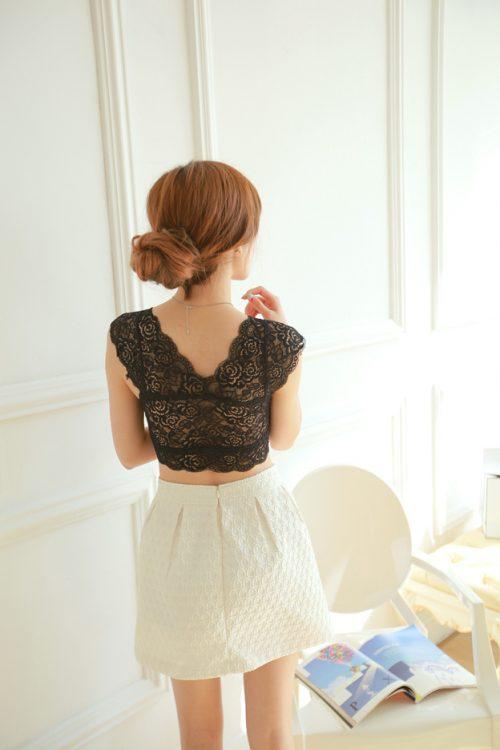 Lace Crop Top black