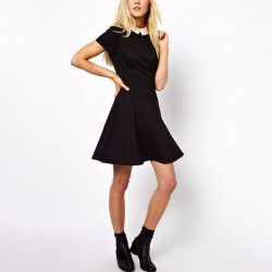 Peter Pan Collar A-line Dress Black