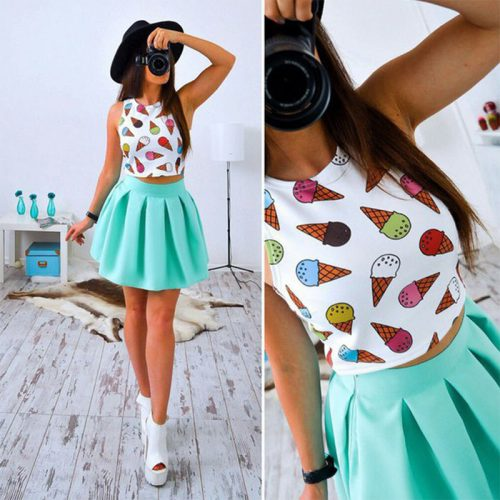Two Piece Crop Top w. Skirt mintgreen icecream