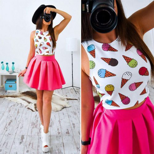 Two Piece Crop Top w. Skirt pink ice cream