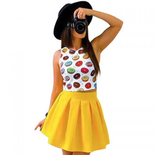 Two Piece Crop Top w. Skirt yellow donuts