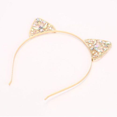 Cat Ears Headband Gold Rhinestone