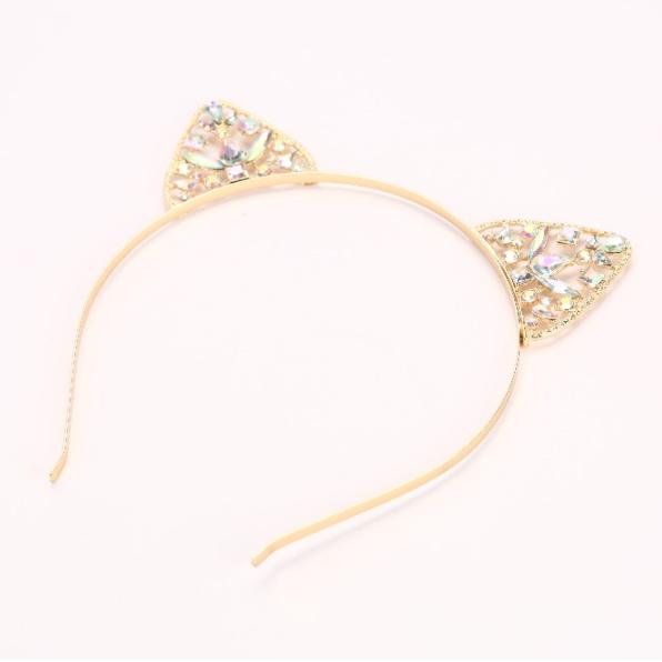 Cat Ears Headband Gold Rhinestone - SugarSweet.me 23cf473aafe
