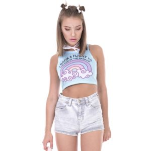 I book a flight to the end of the rainbow crop top