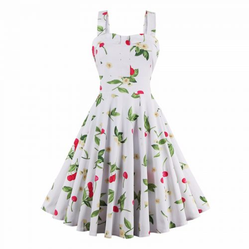 Retro Cherries and Flowers Dress