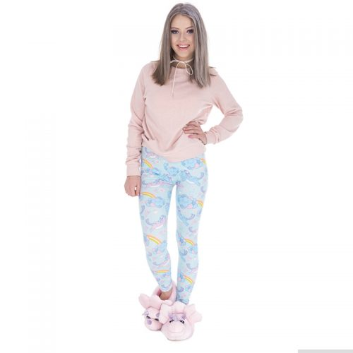 Unicorn Rainbow Cloud Leggings Blue