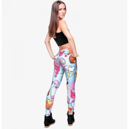 comic style leggings blue