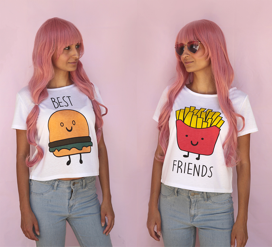 Burger and Fries BFF Sweatshirts Best Friend Matching Pullover Fleece Sweaters