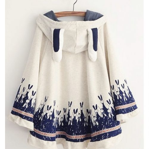Bunny Hooded Poncho Jacket white