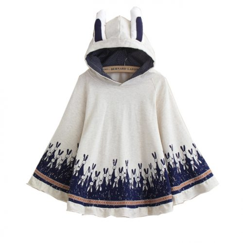 Bunny Hooded Poncho Jacket