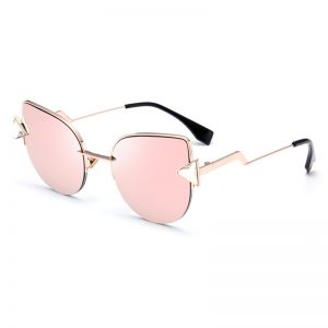 Cat Eye Triangle Rhinestones Sunglasses Pink
