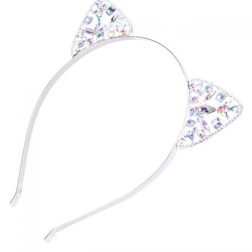 Kitty Ears Silver Rhinestone