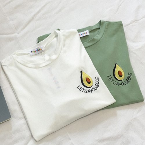 avocado tshirt white and green