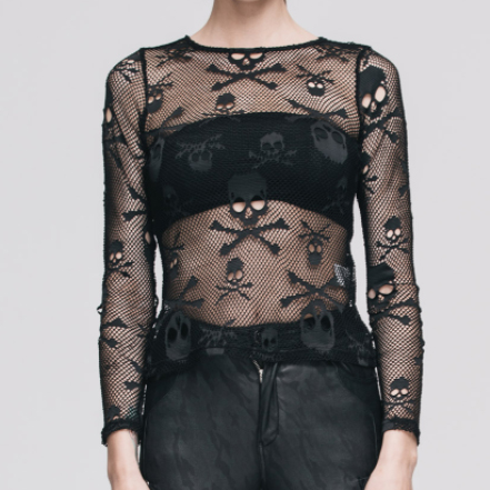 Skull Mesh Top Long Sleeve