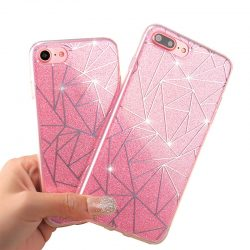 Asymmetric Glitter iPhone Case Pink