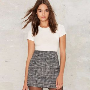 Grey High Waist Winter Skirt