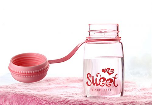 Plastic Macaron Water Bottle pink