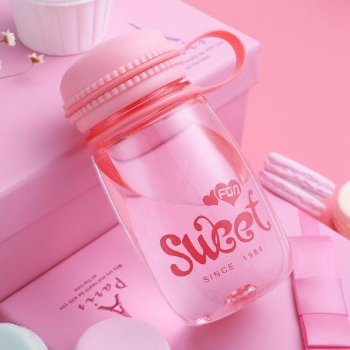 pink kawaii macaroon water bottle