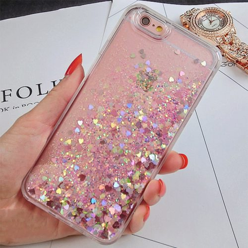Pink Heart Glitter iPhone Case 7