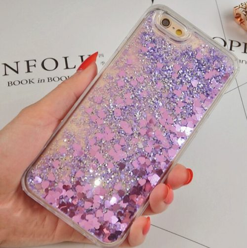 Purple Heart Glitter iPhone Case 7