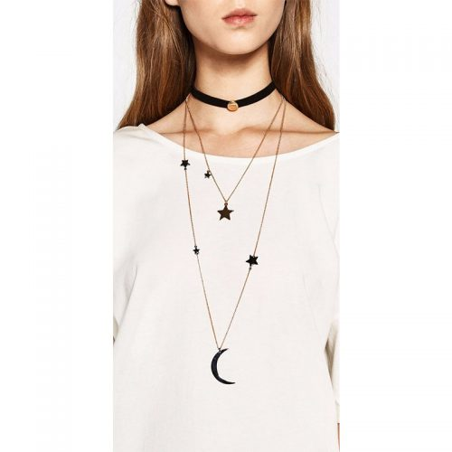 Black choker necklace combined with two long gold Zinc Alloy necklaces.