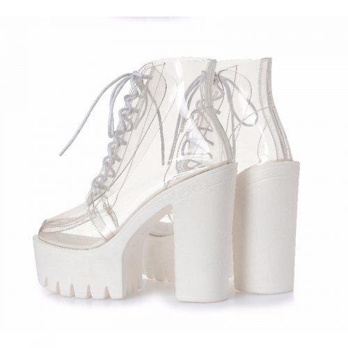 transparent shoes white