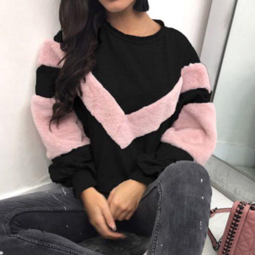 Oversized Fur Patchwork Sweater