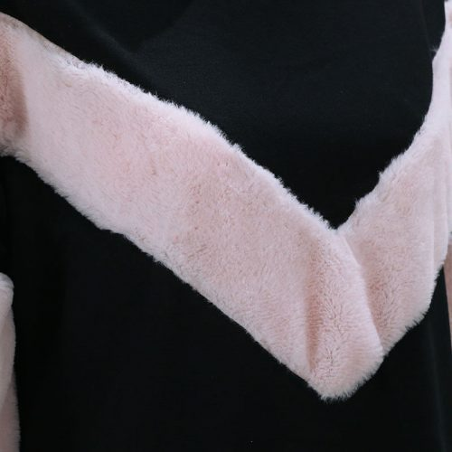 Oversized Fur Patchwork Sweater pink