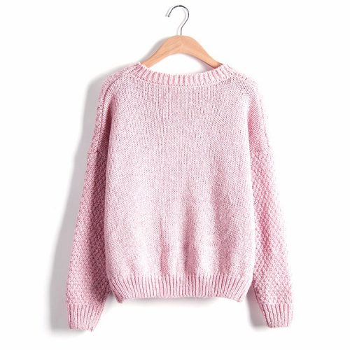 light Pink Knitted Pullover Sweater jumper winter
