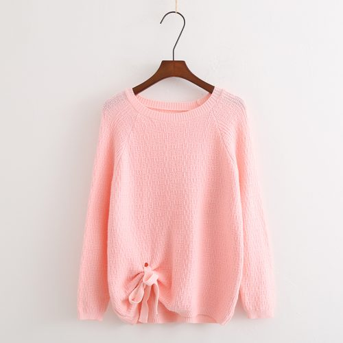 Ribbon Tie Pink Pullover