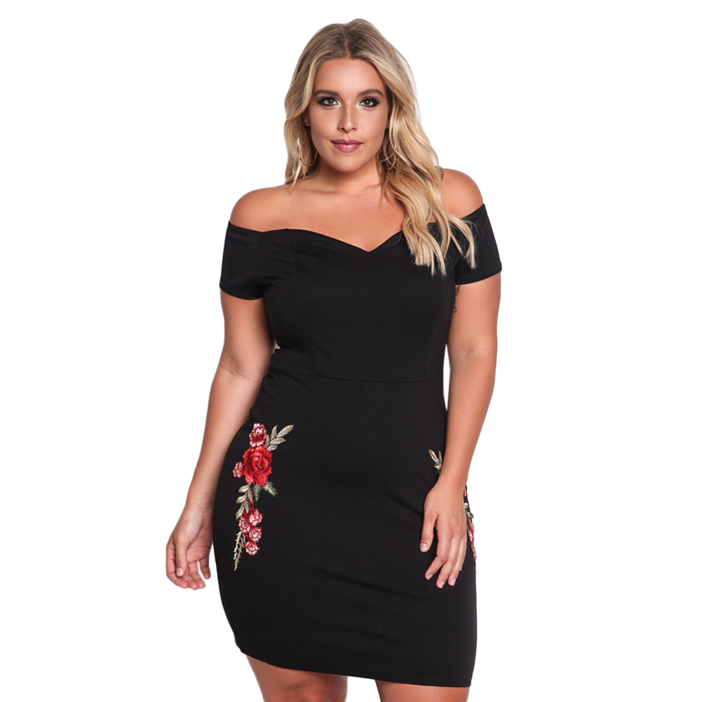 Embroidery Bodycon Dress Plus Size Tumblr Style