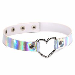 Holographic Choker Necklace Heart