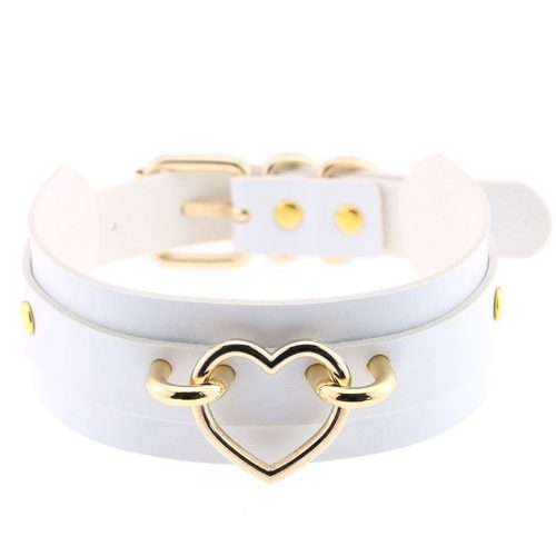 Leather Choker Heart Necklace White