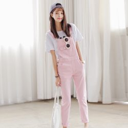 Pink Denim Overall